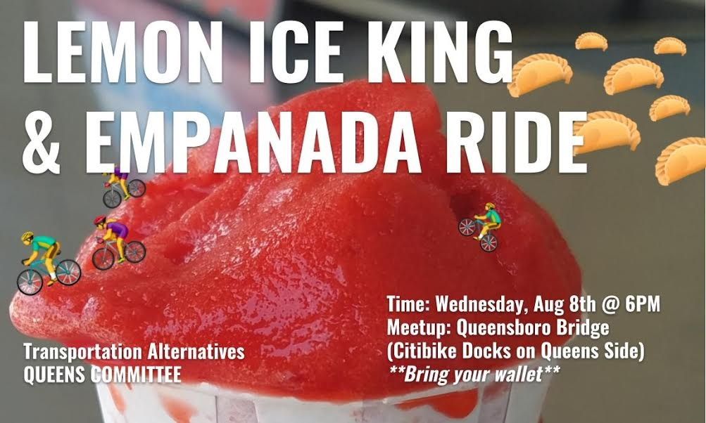 Picture of icee and text invitation to bike ride