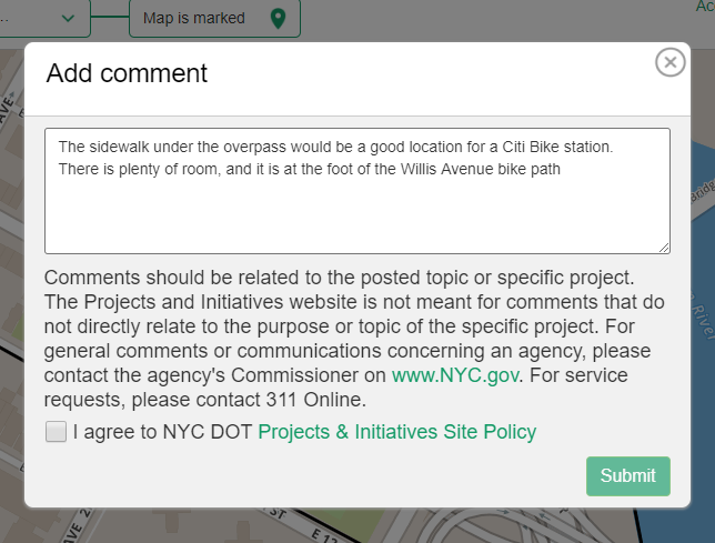 "A screenshot of the example comment for the feedback portal. It reads ""The sidewalk under the overpass would be a good location for a Citi Bike station. There is plenty of room, and it is at the foot of the Willis Avenue bike path."""