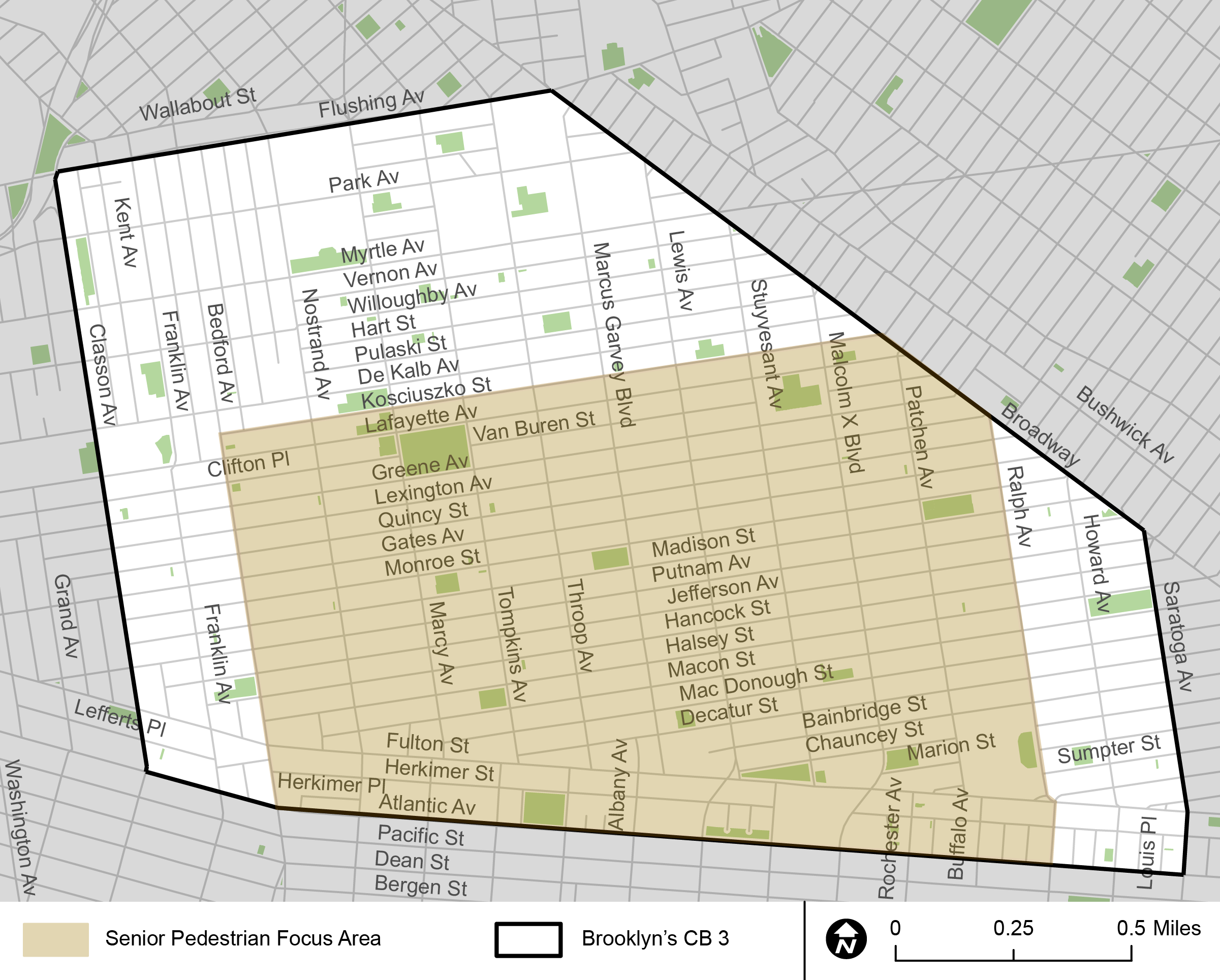 "A diagram highlighting the ""Bed Stuy Senior Pedestrian Focus Area"" in yellow. It covers an area slightly smaller than the Community Board 3 outline."