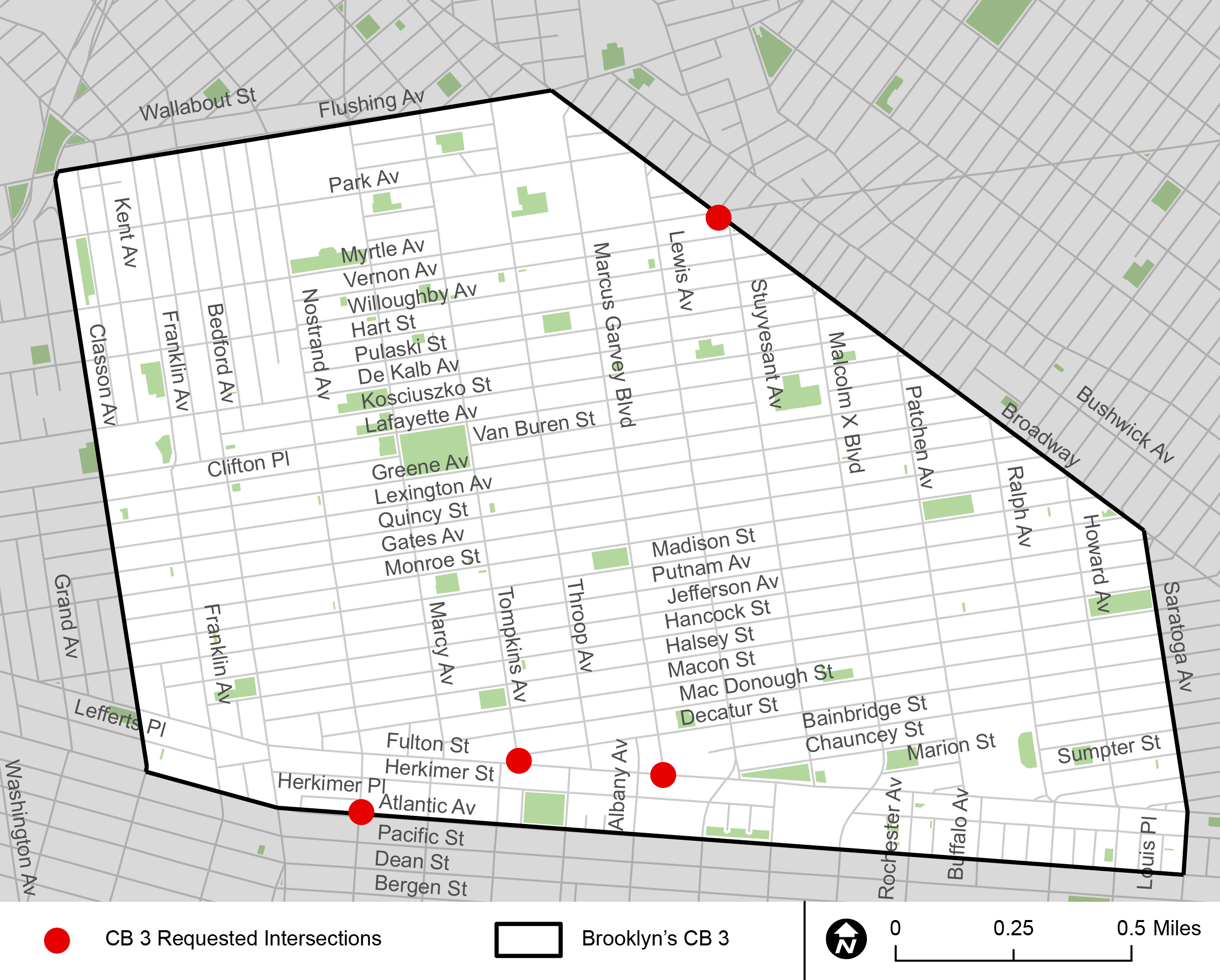 A map highlighting the intersections Brooklyn's CB wanted DOT to improve.