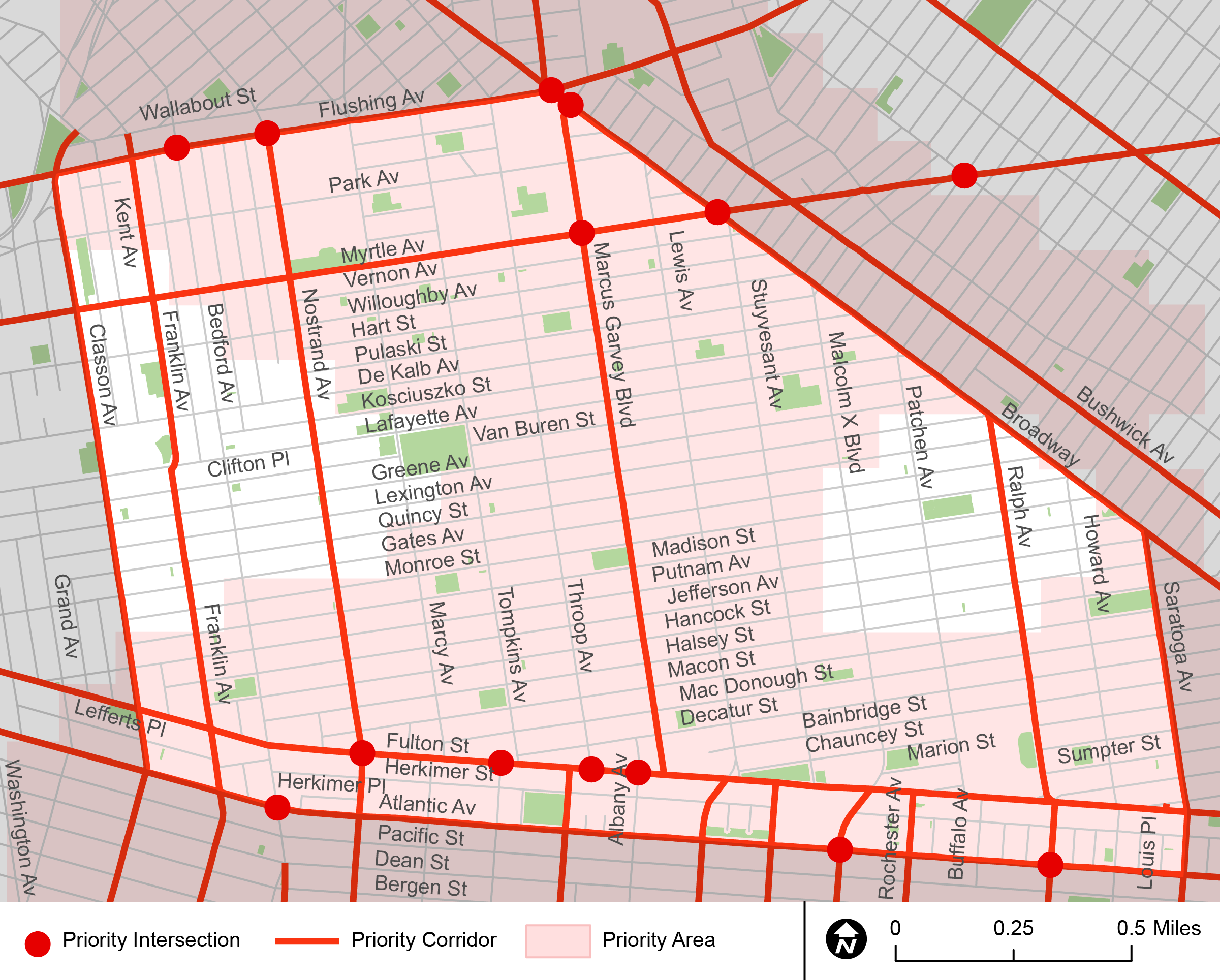 "A diagram showing the different ""Vision Zero"" priority districts located in Bed-Stuy. Included in the diagram are priority intersections, corridors and areas."
