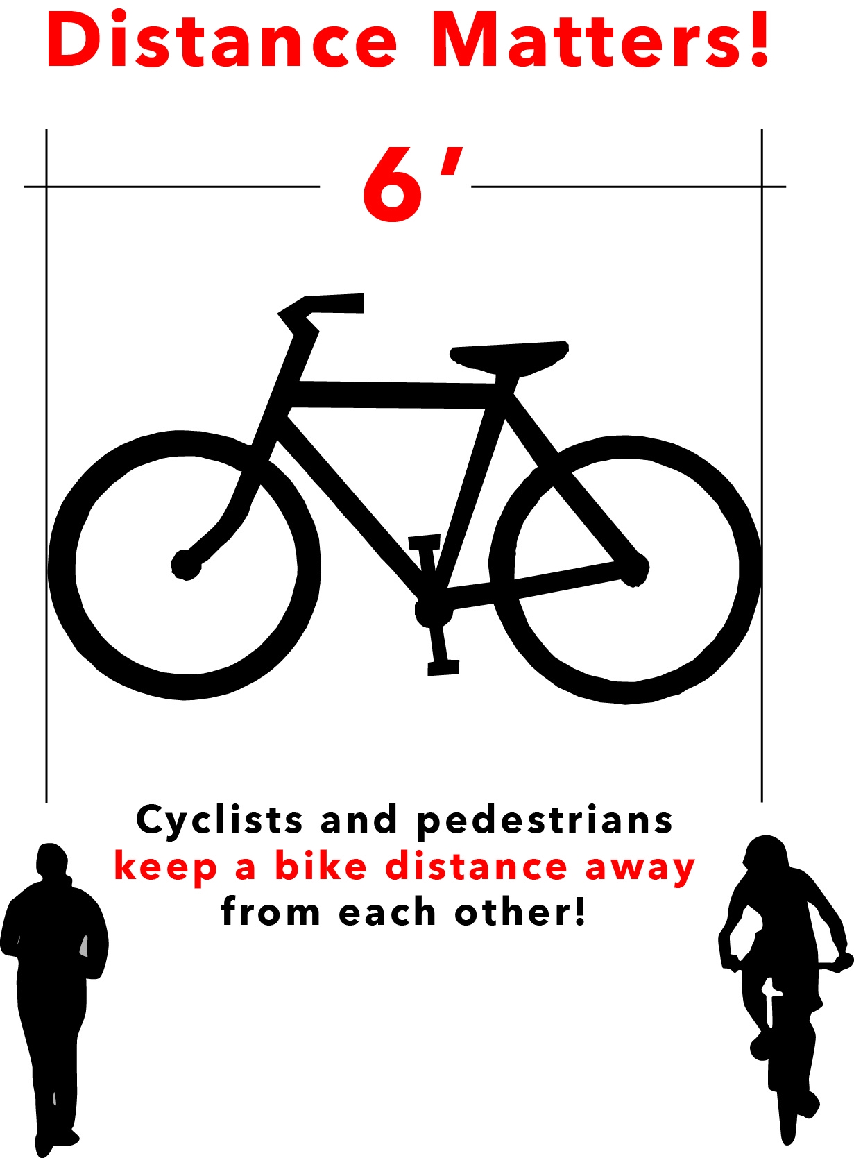 Distance Matters - Cyclist and pedestrians keep a bike distance away from each other