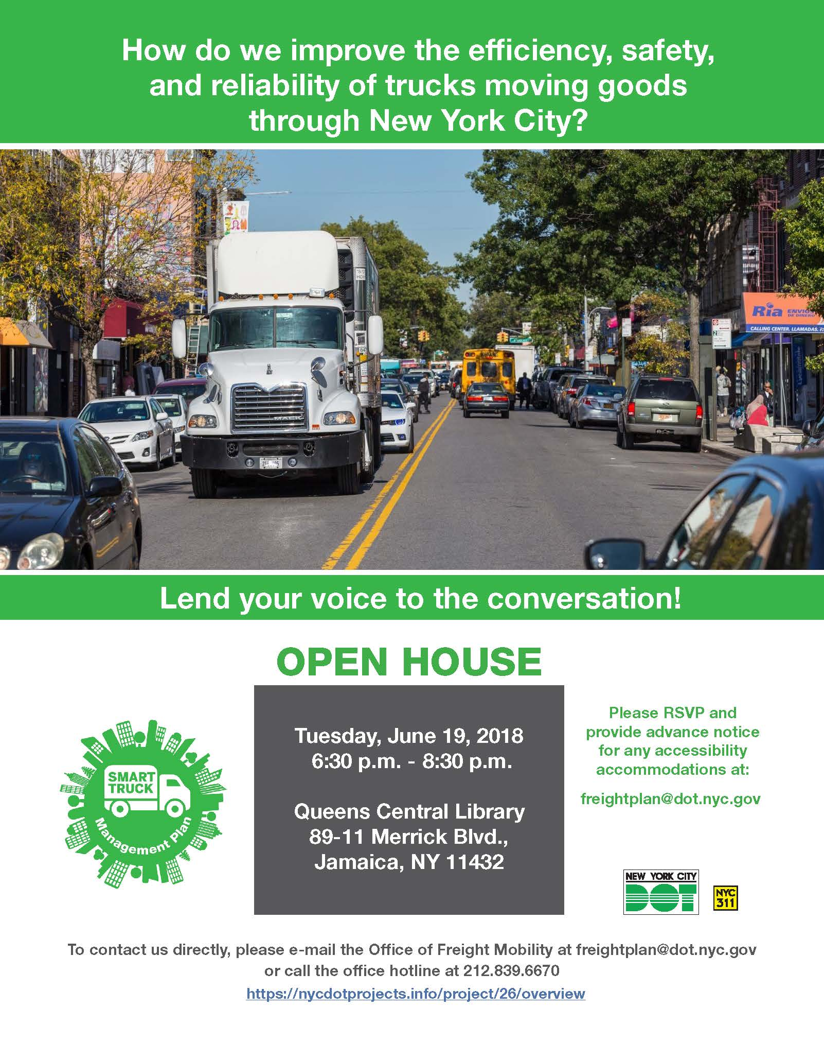 Queens Open House Flyer  for Smart Truck Management Plan