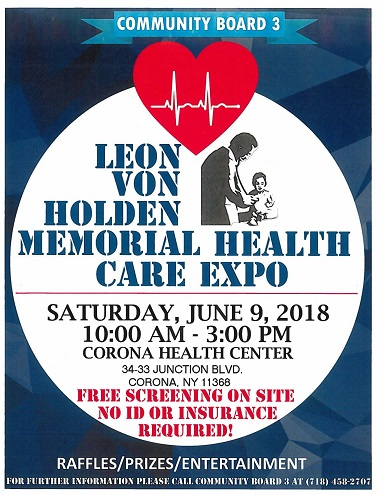 CB3 Health Fair, Saturday, June 9, 2018 at Corona Health Center