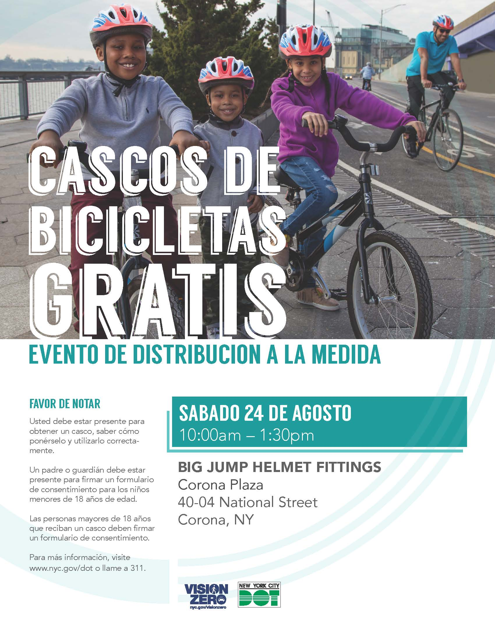 Free Helmet Giveaway Flyer August 24, 2019 Spanish