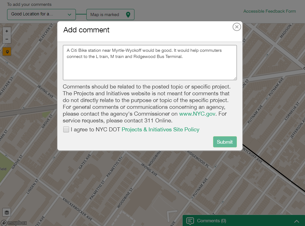 A screenshot of the feedback portal. A boundary is surrounds Community Board 4.