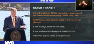 Screen capture of Mayor de Blasio's June 8, 2020 broadcasted press conference announcing the Better Buses Restart