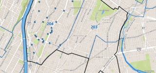 A screenshot of the feedback portal map, centered on Bronx CBs 2, 3, and 4..