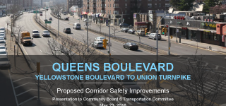 First Slide of the Queens Boulevard Presentation. It is an aerial shot of Queens Blvd &  75th Ave