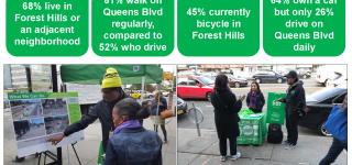 A slide depicting the public outreach conducted on Queens Blvd along with stats.