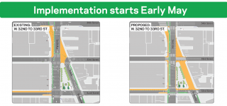 "The image reads ""Implementation starts Early May"" on top and below it shows the current conditions of Herald & Greeley Squares on the left and the proposed conditions on the right."