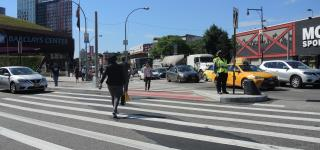 Pedestrian Walking at Flatbush Ave and Atlantic Ave