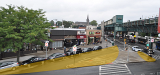 The slip lane on E Tremont and Westchester Ave in the Bronx is highlighted indicating it will be built out as part of the proposed plaza.